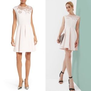 TED BAKER Dollii Pink Embroidered Fit Flare Dress